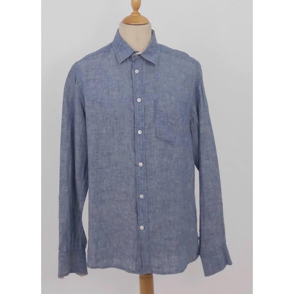 Nwot M Amp S Size M Blue Harbour Chambray Blue Linen Shirt