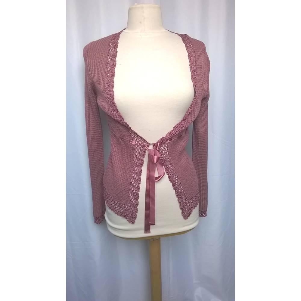 7d65ae8b3140 Monsoon Size  10 Pink crochet trim cardigan shrug. Loading zoom