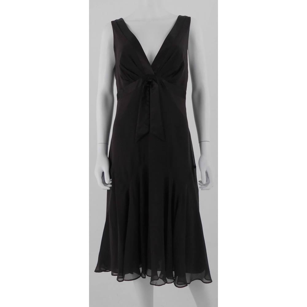 3f37dec4f61 Ted Baker Size 14 (Ted4) Chocolate Brown Silk Chiffon A Line Dress ...