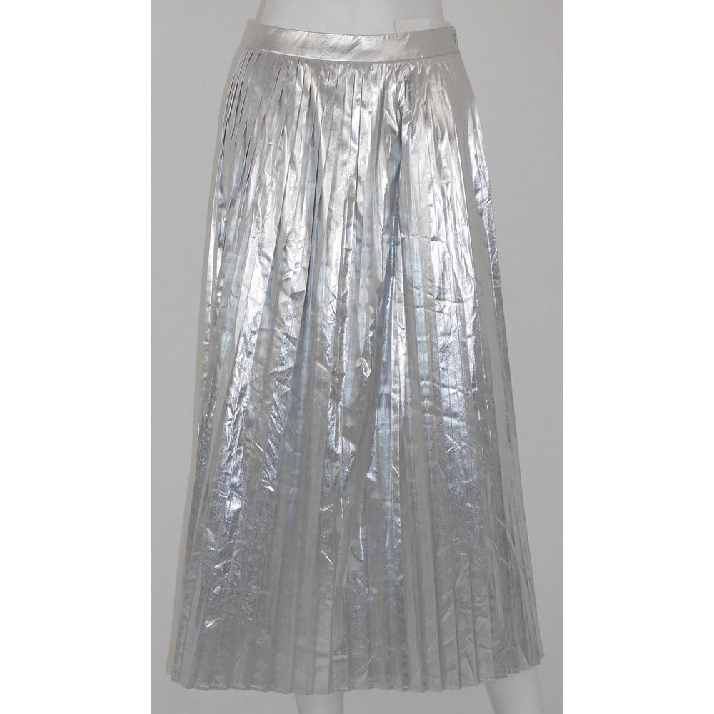 great discount for newest style of top brands NWOT M&S Autograph Size 12 Metallic Silver Pleated Skirt | Oxfam GB |  Oxfam's Online Shop
