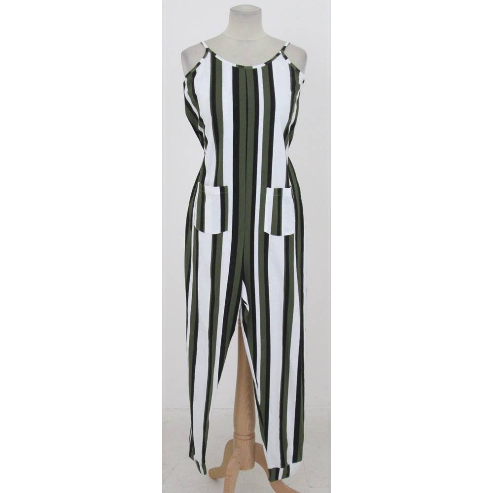447f807fe ASOS - Size: 8 - Green, black and white striped jumpsuit | Oxfam GB ...