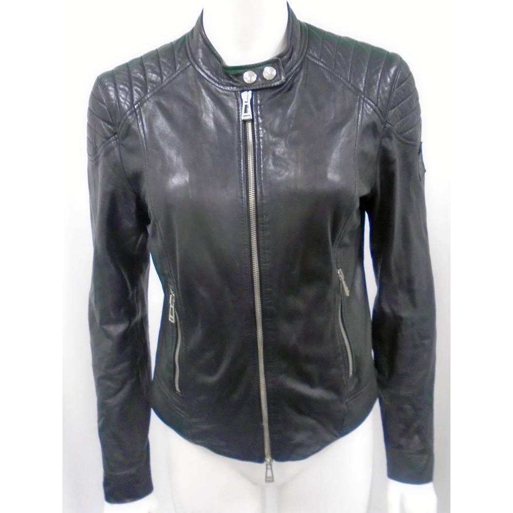 b2167bb18a9 Belstaff - Size: 12 - Black Leather Mollison Jacket | Oxfam GB | Oxfam's ...
