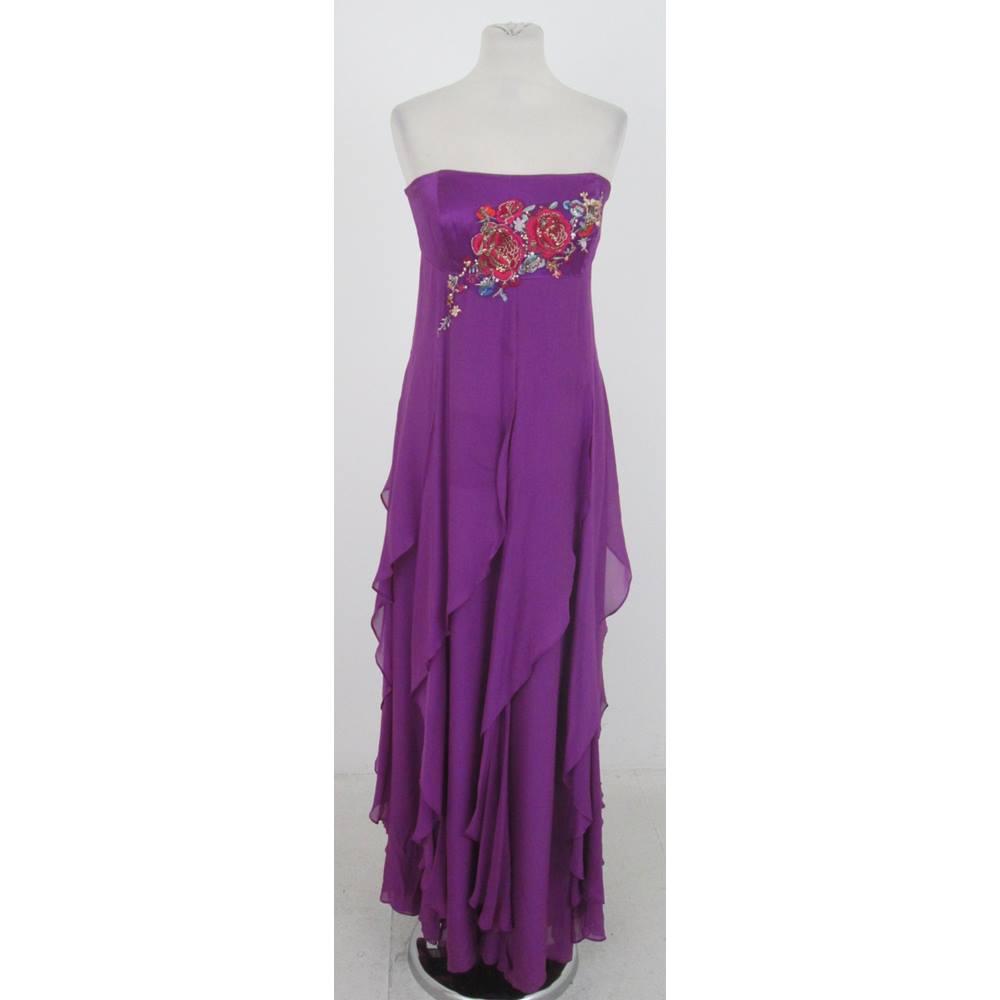 e794486705e4c Monsoon Size:16 violet silk flounced evening dress | Oxfam GB ...