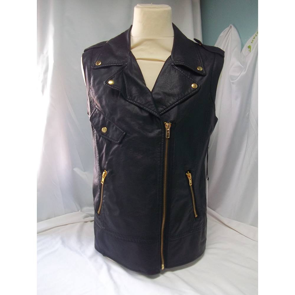 7fbaf5468 BNWT Forever 21 Size M Faux Leather Black and Gold Waistcoat | Oxfam GB |  Oxfam's Online Shop