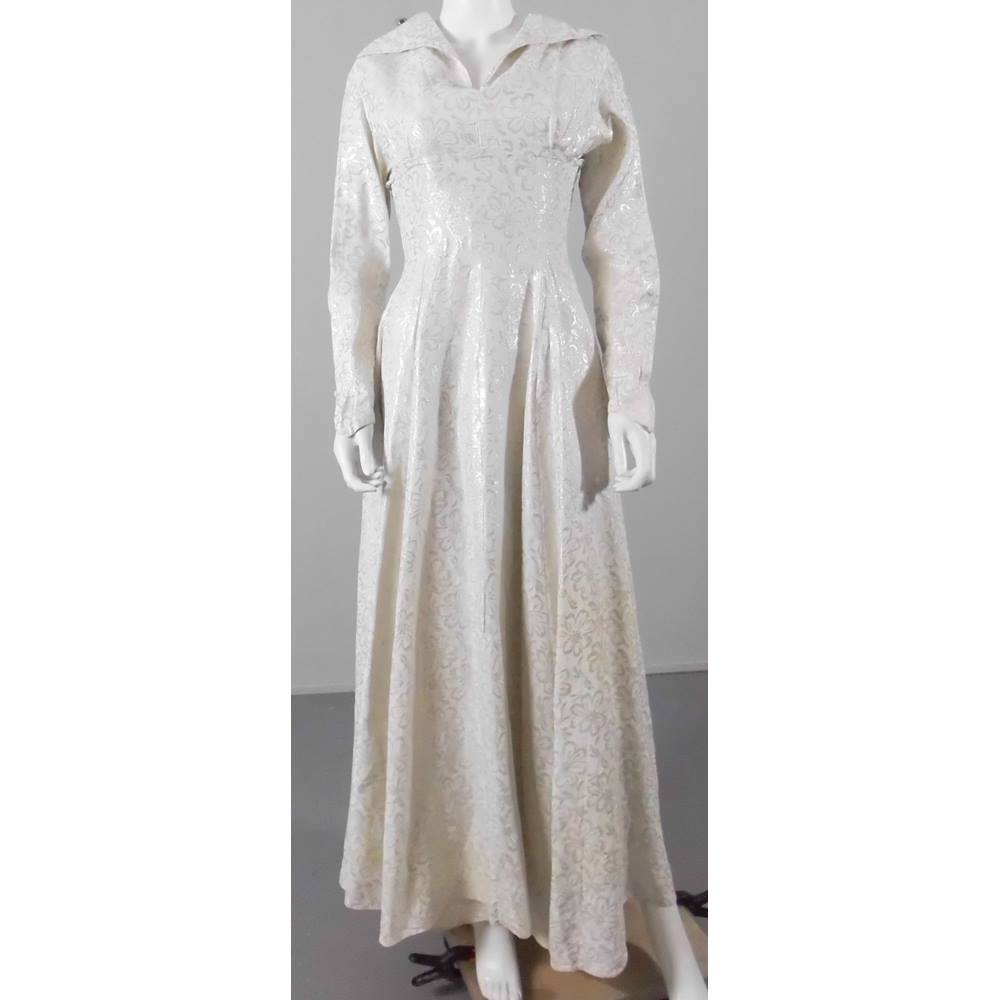 a864ac0f0f Oxfam Online Hub Batley This beautiful vintage dress will stand out of the  crowd with the silver threads that create the floral pattern that covers  the ...