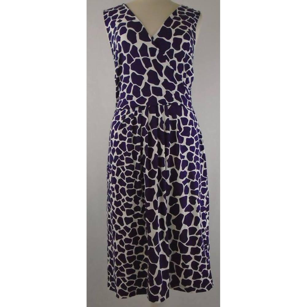 Purple Leopard Print Knee Length Dress