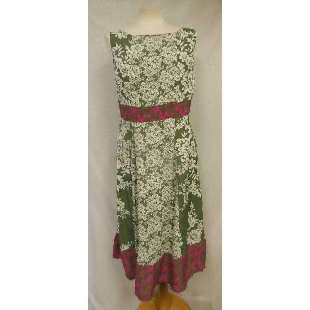 2a78c1b2be Monsoon Size 14 Green, Pink and white floral patterned dress | Oxfam ...