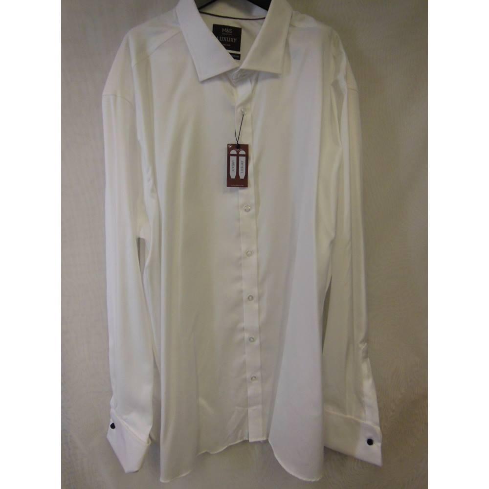 Ms Luxury Slim White Cotton Shirt 20 Collar Marks Spencer Hanger Marksspencer Rollover To Zoom