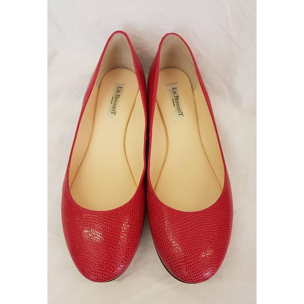 f4d4bd4bccfb L.K. Bennett Red Lizard Print Flat Pumps - Size  37 1 2   6. Loading zoom.  Rollover to zoom