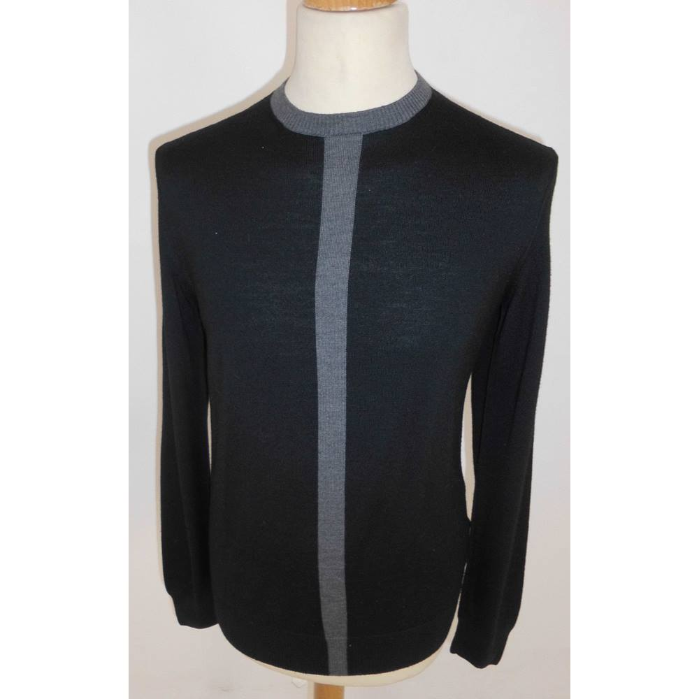 974bc6388 Hugo Boss Size  M Black with Grey Collar   Grey Vertical Stripe Round Neck  Designer. Loading zoom