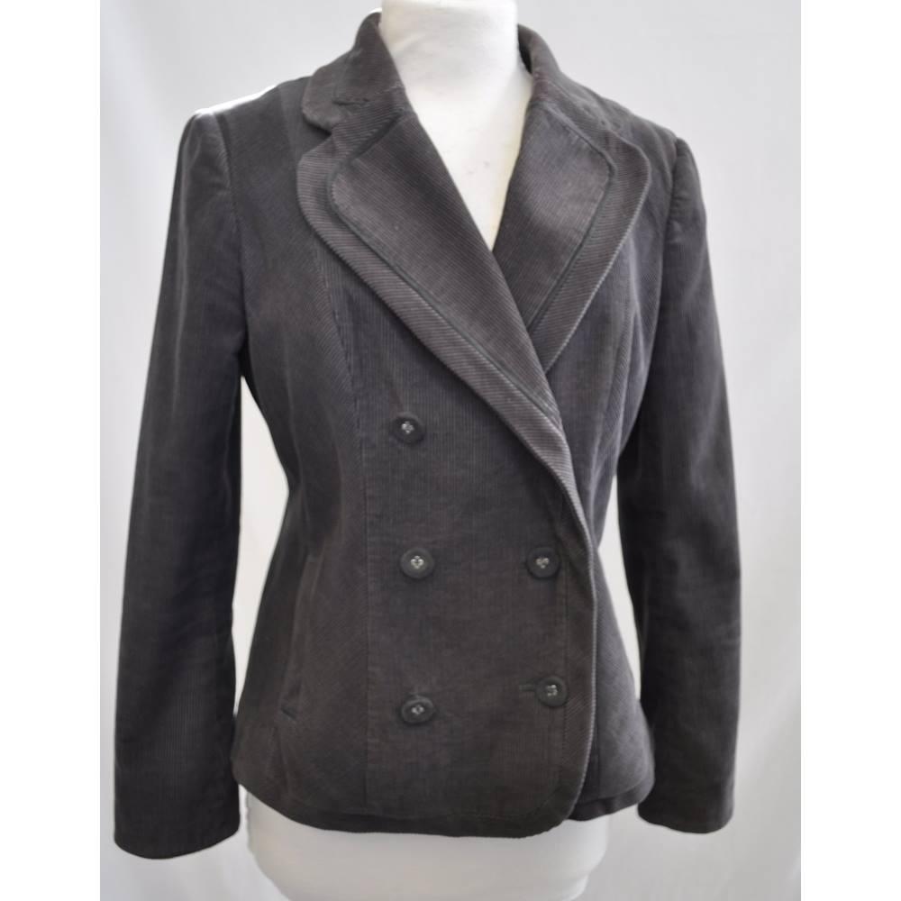 fe906b72e Per Una - Size  10 - Brown Grey - Corduroy Double Breasted Coat ...