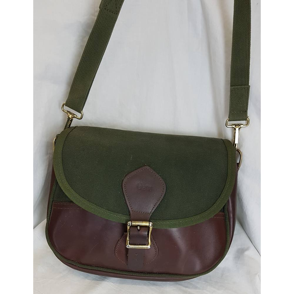 a517f113c58ba Orvis Green Canvas and Dark Brown Leather Shoulder Bag | Oxfam ...