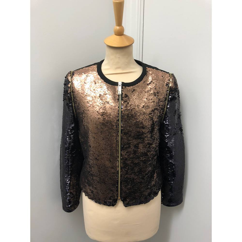 2c6b1d8494e BNWT Ted Baker Ladies  Blubele Sequin Jacket – Bronze Ted Baker - Size  S.  Loading zoom