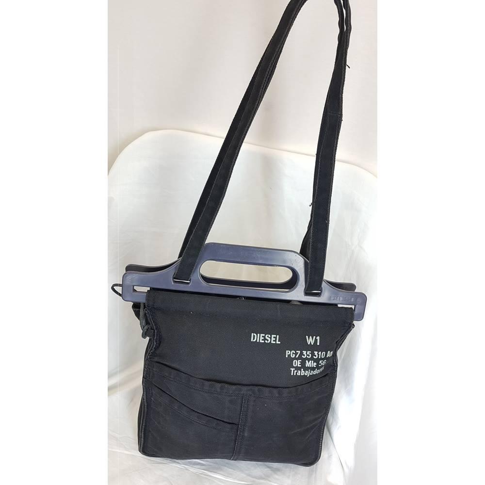 fc1825d8 Vintage Diesel Black Cotton Bag with Diesel Logo and Pocket Detailing