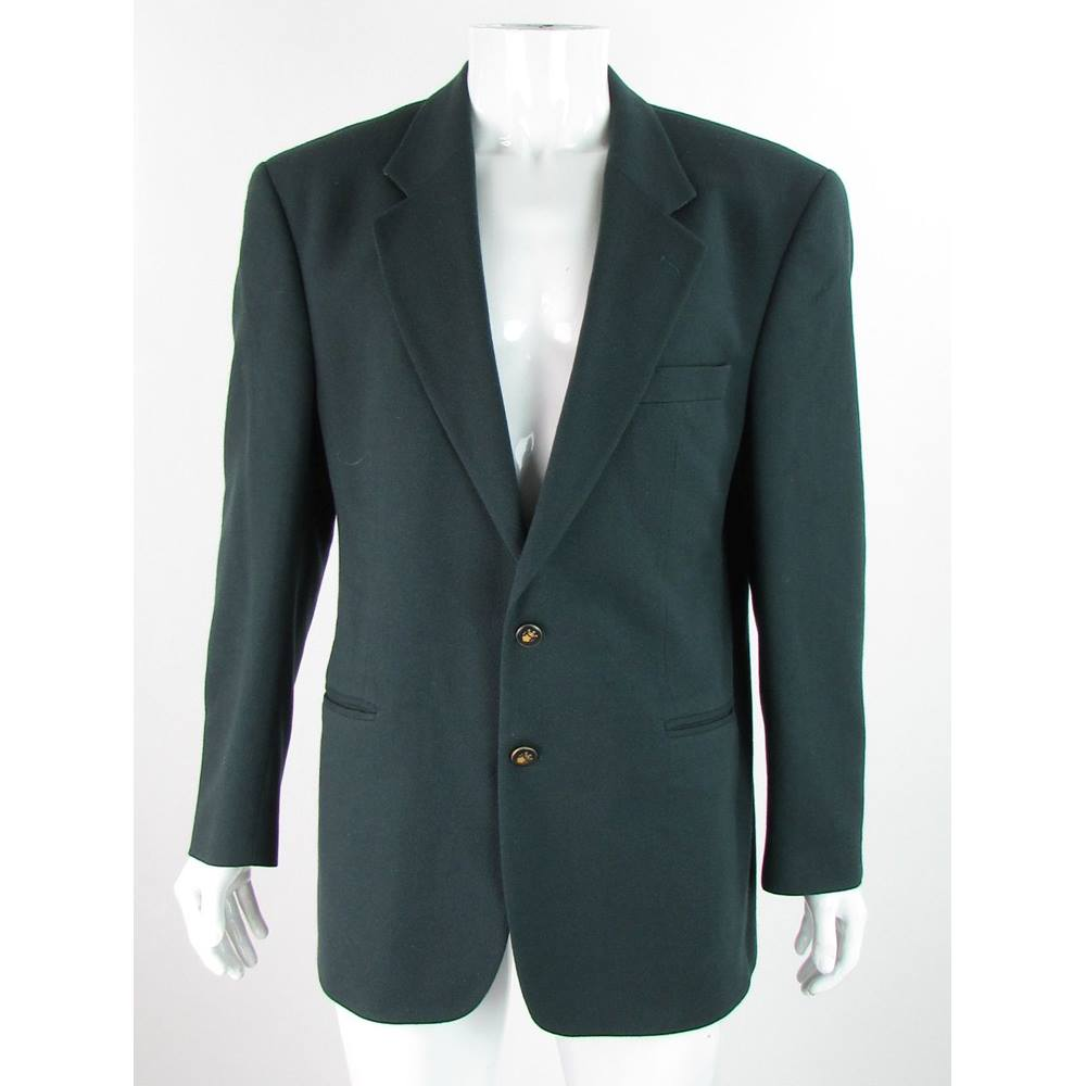 Brook Taverner Size 42 Dark Green Wool Mix Single Breasted