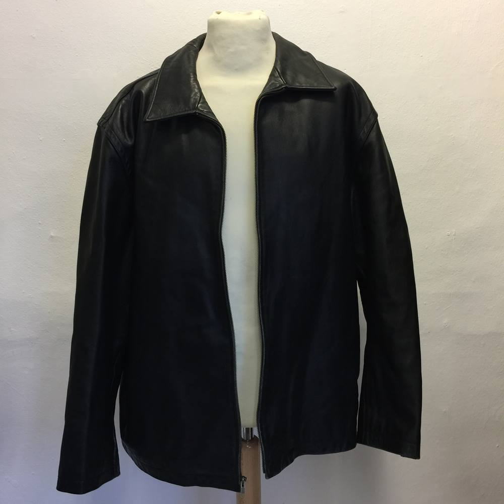 55adb7df8db44 Oxfam Shop Clitheroe heavy quality leather coat by Gap quilted lining  inside pocket zip front shirt style collar two front deep pockets very nice  leather ...