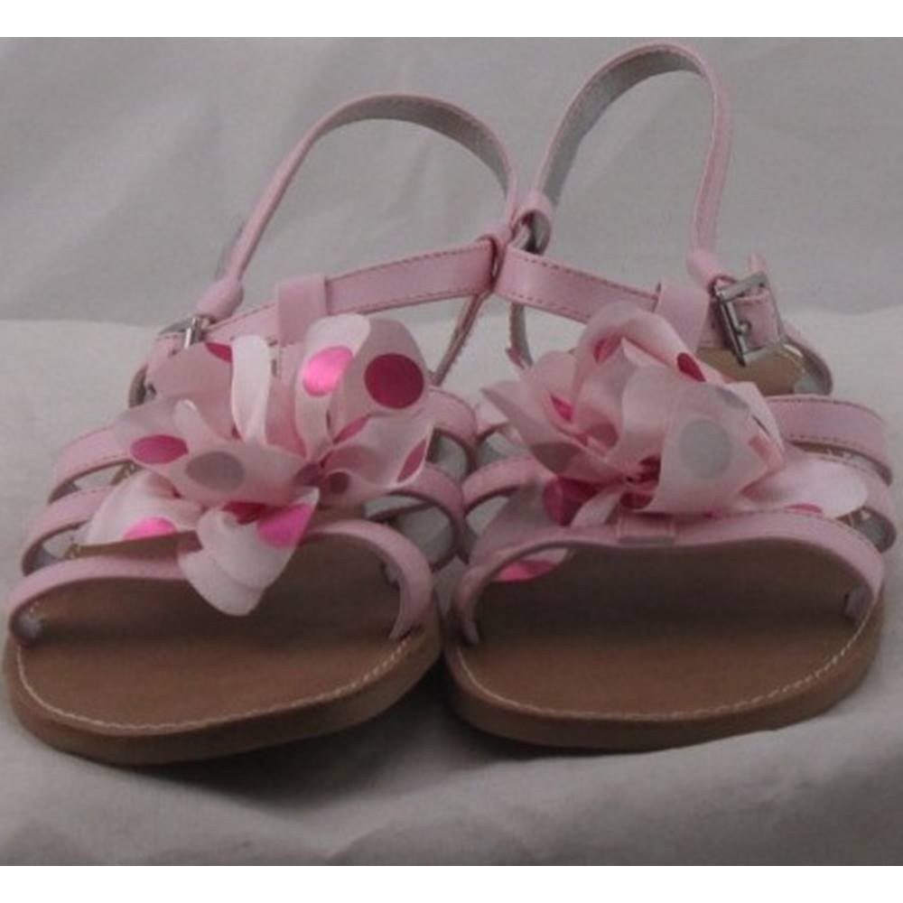 aa65e777db7 ... of sandals from Lands  End. Is in a pale pink synthetic upper that has  a patent effect to it. Straps sit across the foot