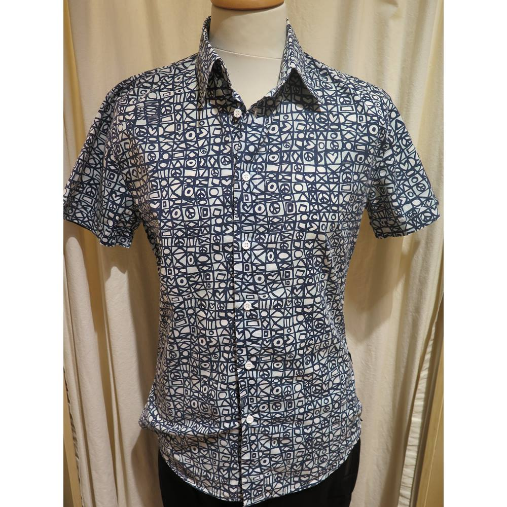 2ecf4a4f3 Moschino Jeans Men's Short-Sleeved Shirt Moschino - Size: M - Blue. Loading  zoom. Rollover to zoom