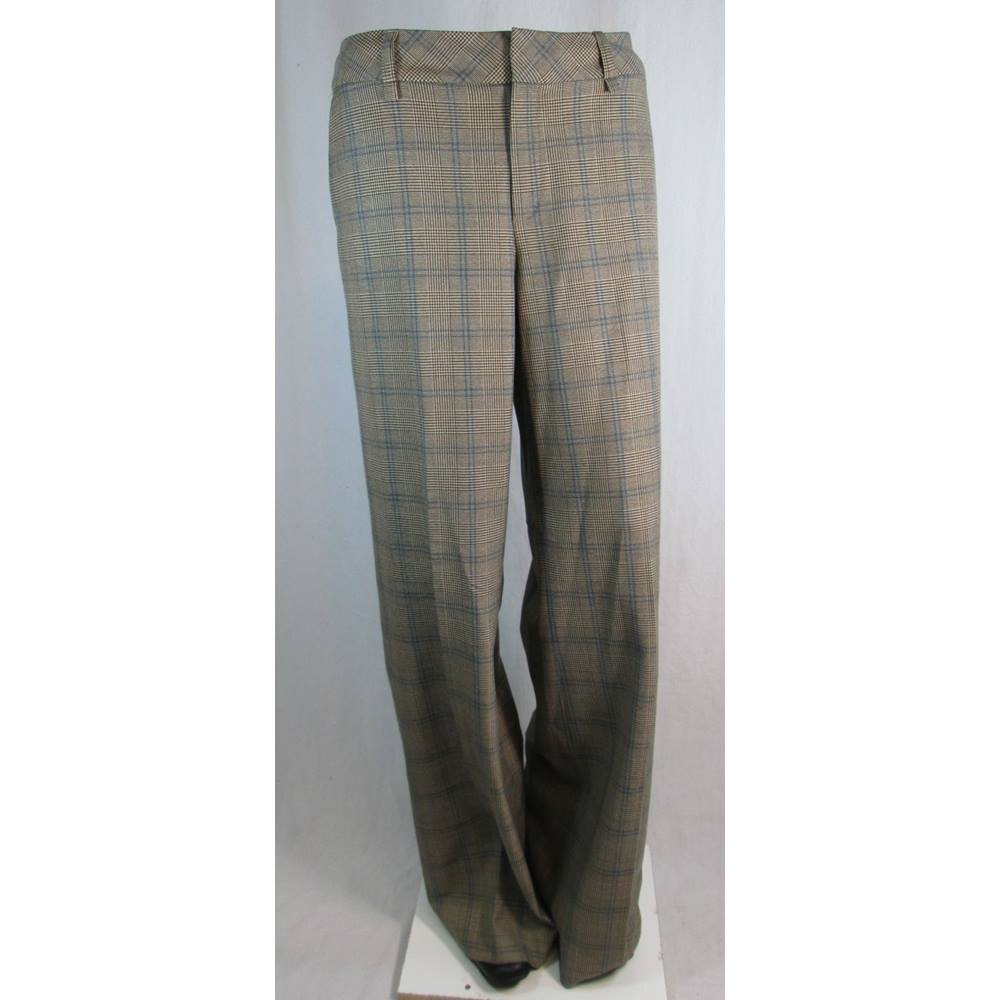 a3391961b0bc2f Mexx Brown blue check pattern trousers Size 12