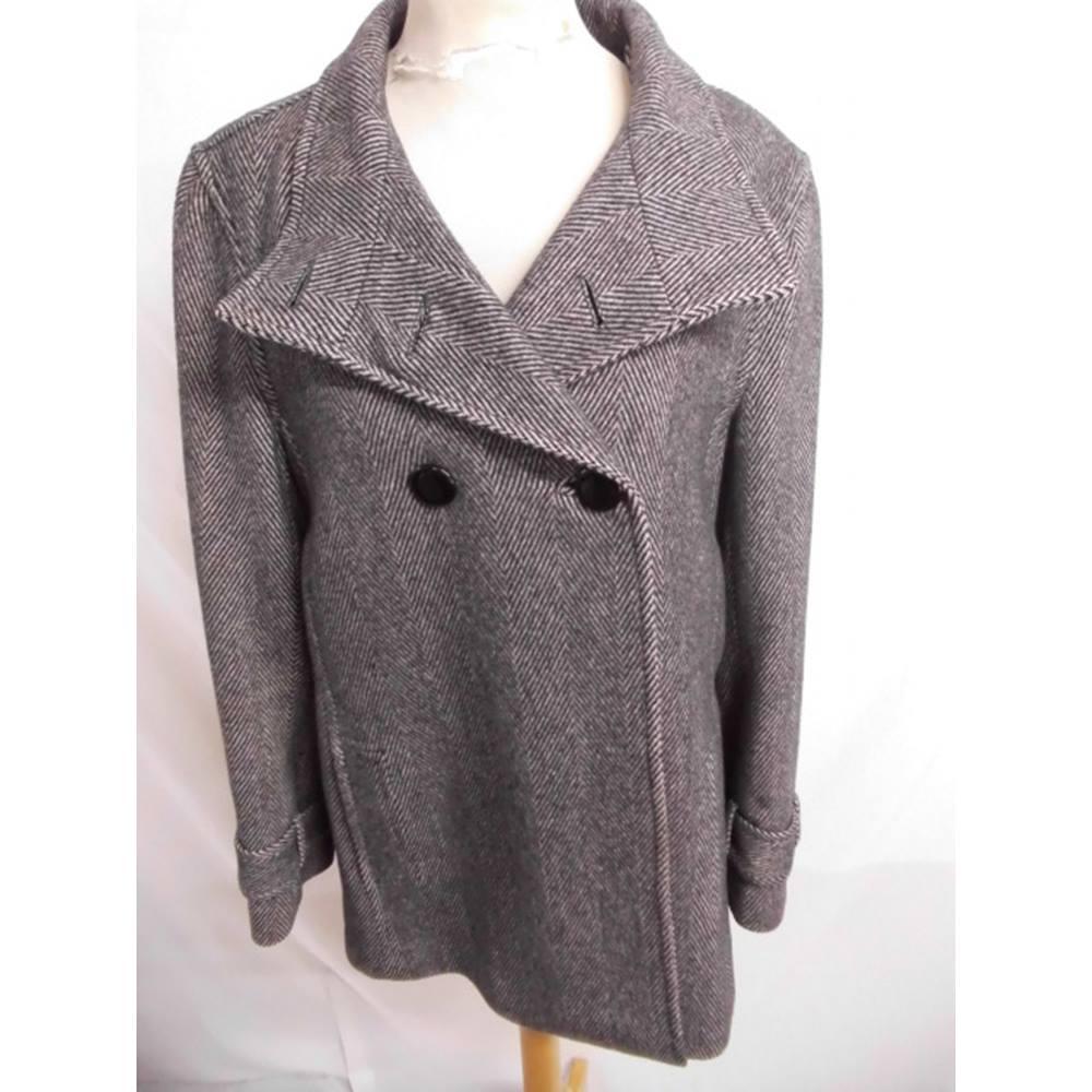 6fc2875989da Jaeger Herringbone Wool Coat. Size 12. Jaeger - Size  12 - Grey ...