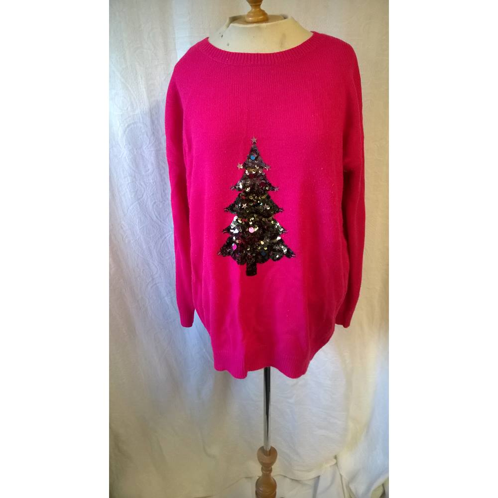 Oxfam Christmas Trees: M&S Marks & Spencer - Size: L - Pink - Jumper