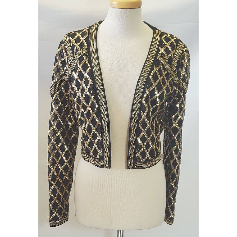 f3240f78e48 BNWT Love   Other Things Size M Black and Gold Sequinned Bolero Jacket.  Loading zoom