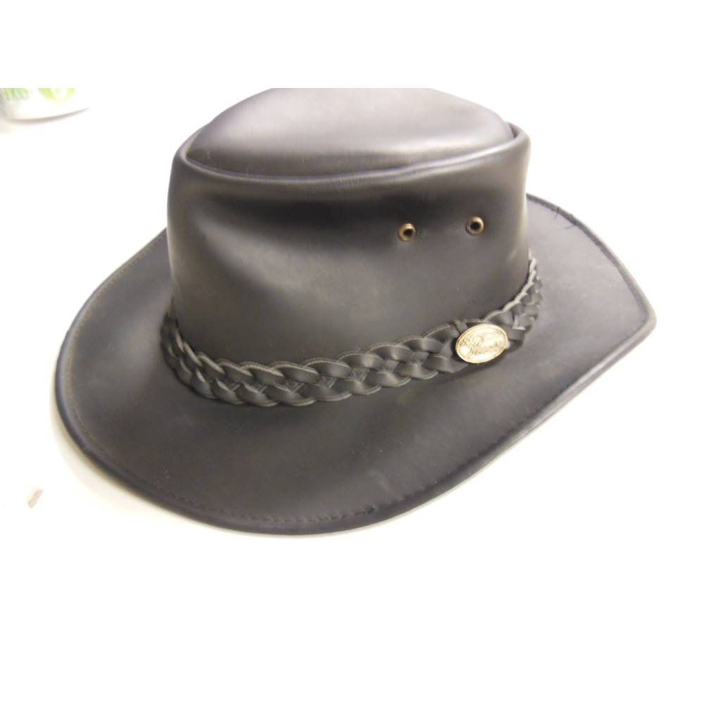 Hawkins Headwear Australian Outback Style Leather Hat - Size S Hawkins  Headwear - Size  S - Black For Sale in Bury d60db132497