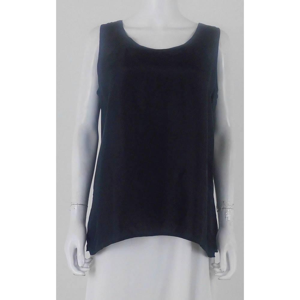 64763b53207b4 Silk Caress Size L 100% Pure Silk Jet Black Sleeveless Top
