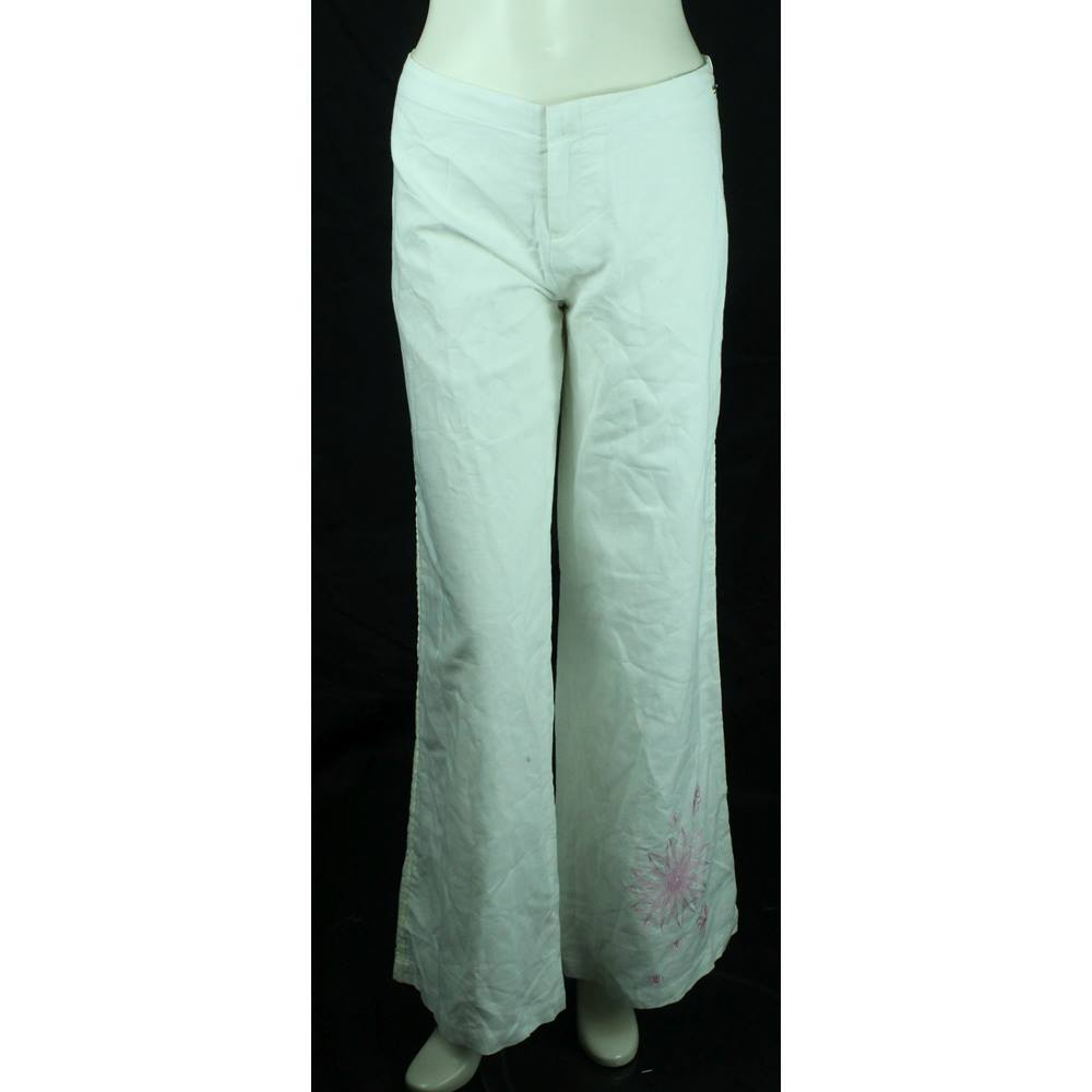 ab35aef500 BNWT Animal - Size  16 - White - Linen   Cotton Blend Trousers With ...