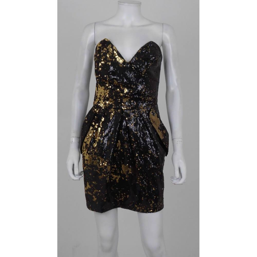 e207d882f635 Oxfam Online Hub Batley Lipsy Iridescent Black/Gold Sequin Strapless Party Dress  Size 10 This strapless party dress is a wardrobe staple either as a special  ...