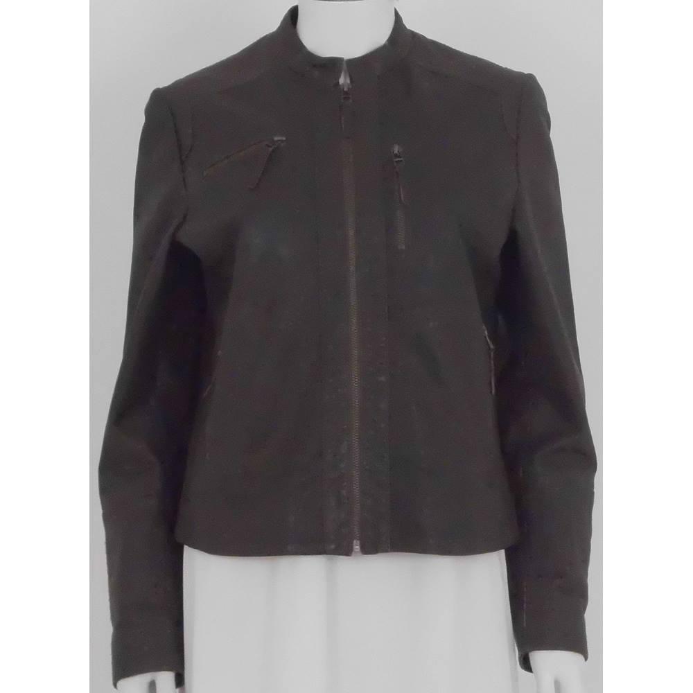 Kookai Size  12 Brown Leather Biker Jacket For Sale in Batley ... 3add4e101