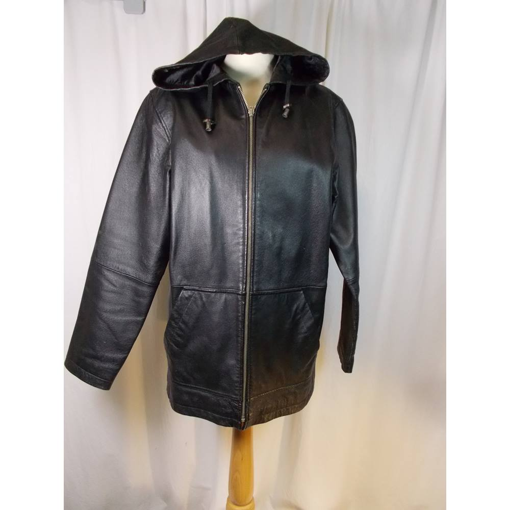84c5d47f83beb ... leather jacket 2 nice large pockets at the front hood also attached  straight fitting jacket hips   20