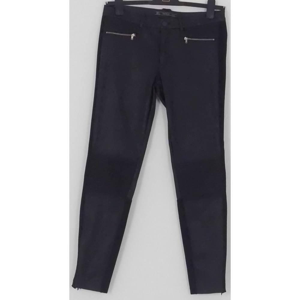 3ed31578 ZARA TRAFALUC Black Faux Leather Trousers UK Size L | Oxfam GB ...
