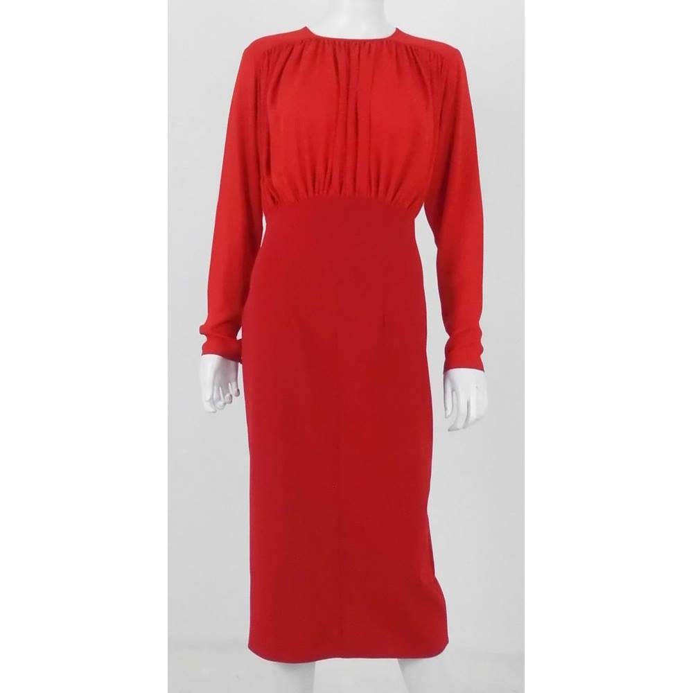 3df1da6082ff ... Formal work wear pencil skirt dress with light chiffon long sleeves.  This dress would be perfect for a work day in need of a splash of royal red !!