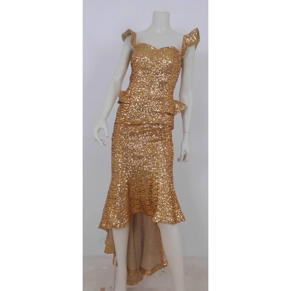 5e9608fb Paula Richi Size 8 Gold Sequin Evening Dress | Oxfam GB | Oxfam's ...
