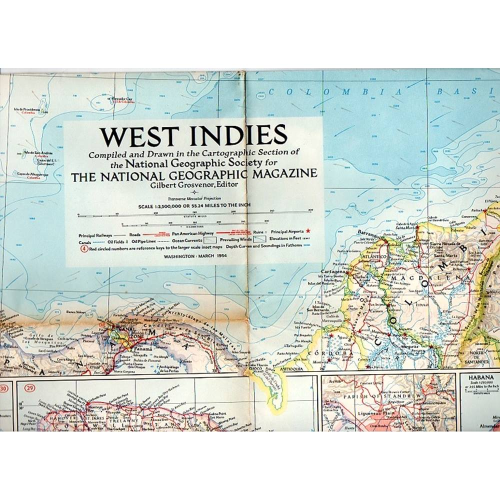 2 1950s National Geographic maps: Mexico & Central America; West ...
