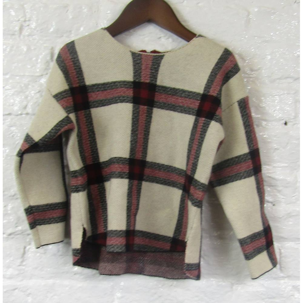 cb71af10c BNWT Zara Knitwear Baby Girl's - Size: 2 - 3 Years - Beige, Black & Red  Check - Jumper | Oxfam GB | Oxfam's Online Shop