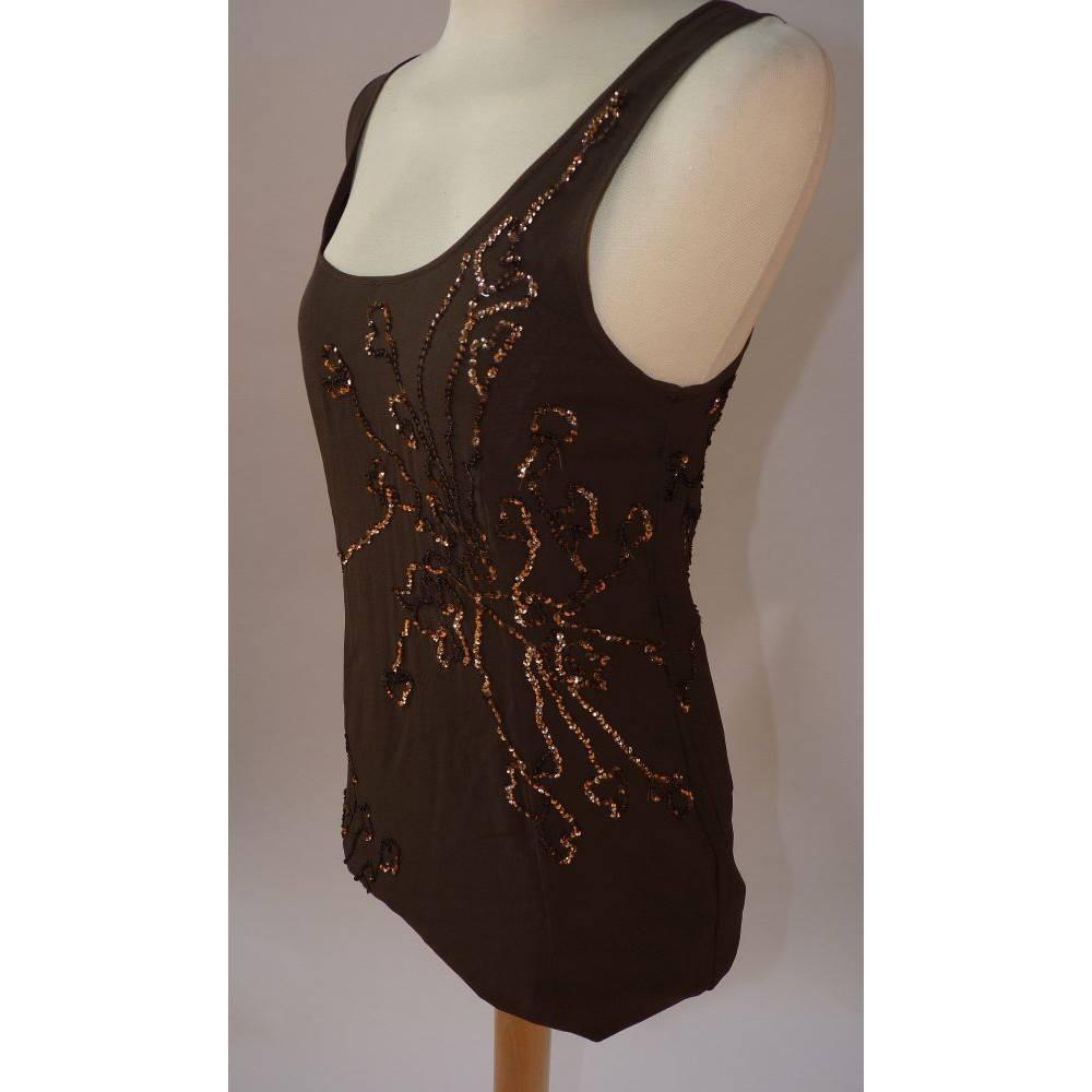 1758b784 BNWT Armani Exchange size 6 (Armani Exchange 2) brown sequin vest top