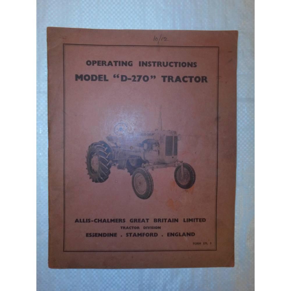 Vintage Original Operating Instruction Allis Chalmers Model