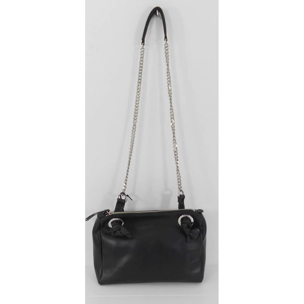 NWOT M&S Autograph black leather bag with chain shoulder strap for sale  Milton Keynes