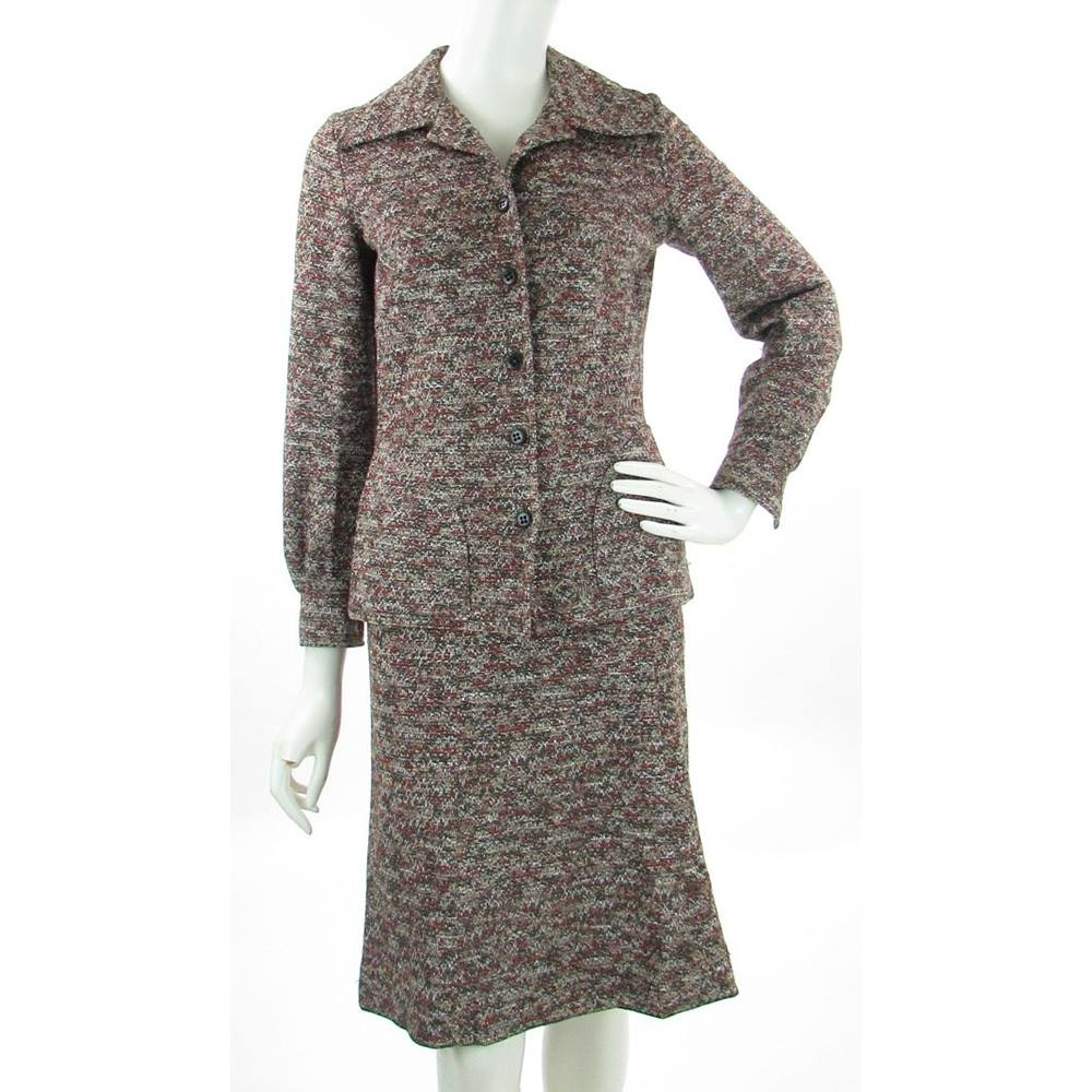 VINTAGE - St Michael - Size: 8 - Brown - Skirt suit with A-line Skirt for sale  Darlington