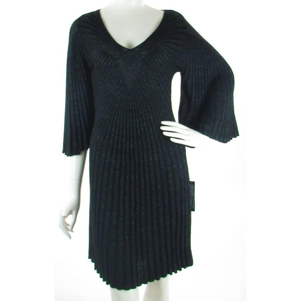 f0ab2c7823e76 BNWT - Roman - Size: 12 - Black with Blue Metallic Thread - Art Deco Dress  | Oxfam GB | Oxfam's Online Shop