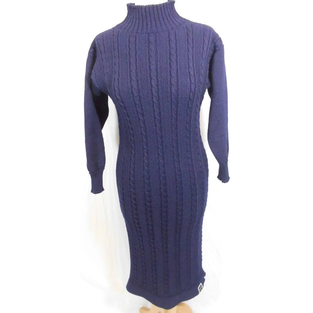 Long-line cable knit sweater dress by Berties by Bay - Size: S - Blue - Full length dress, used for sale  Hexham