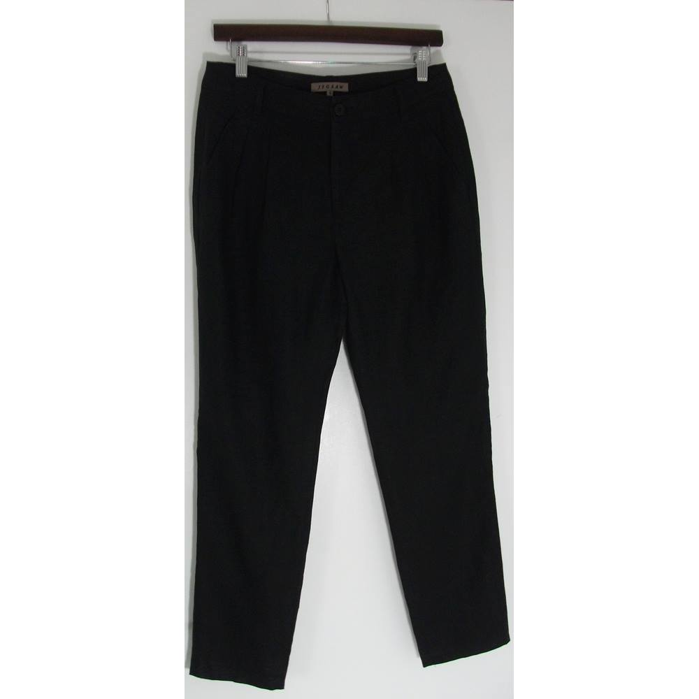 sells picked up on feet at JIGSAW Black Linen Narrow Leg Trousers Size 8 For Sale in Batley, London    Preloved