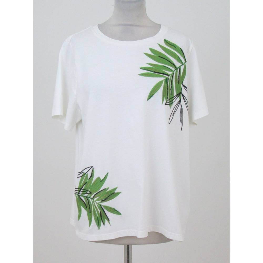 BNWT Per Una, size 16 white T-shirt with green embroidered leaves | Oxfam  GB | Oxfam's Online Shop
