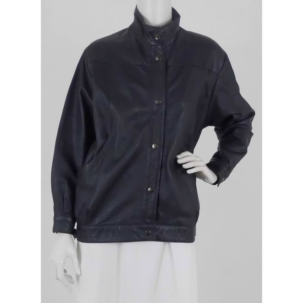 33800de95 Vintage 1980s Brooke Saddler Size S Black Leather Bomber Jacket | Oxfam GB  | Oxfam's Online Shop