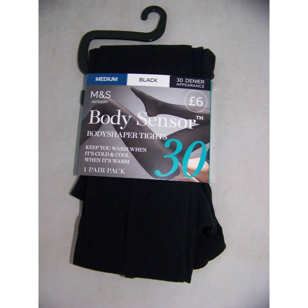 7fcc59ccc M S Hosiery Marks   Spencer - Size  M - Black - Body Sensor 30 denier  appearance bodyshaper tights