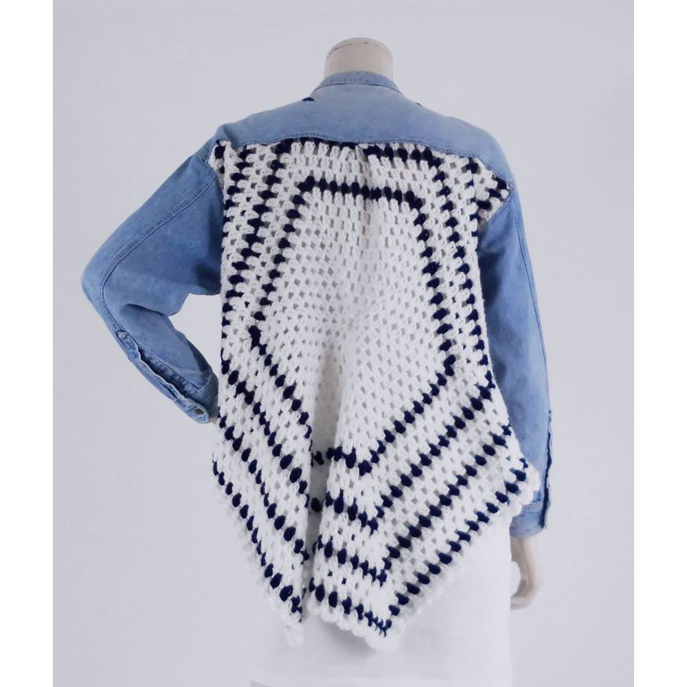 Handmade Size M Blue And White Denim And Crochet Jacket