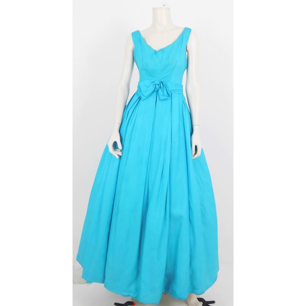Preview of the first image of Rare Vintage 1940's Frank Usher Size: S Cyan Blue Ball Gown Evening Dress.