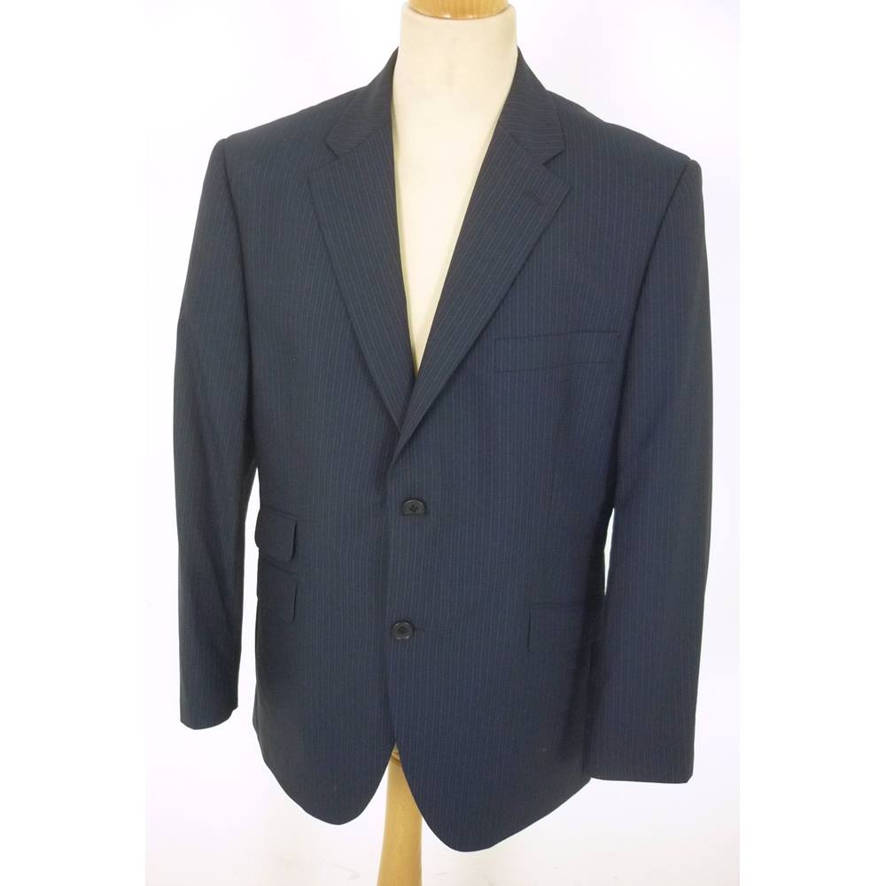 Preview of the first image of Howick, size 44 navy wool blend single breasted suit.